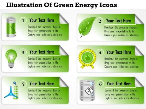Business Diagram Illustration Of Green Energy Icons Presentation Template