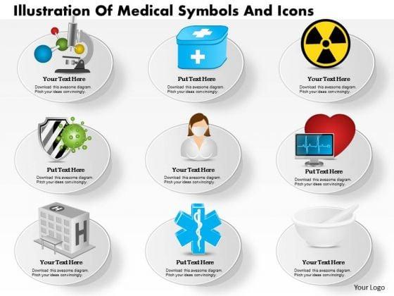 Business Diagram Illustration Of Medical Symbols And Icons Presentation Slide Template