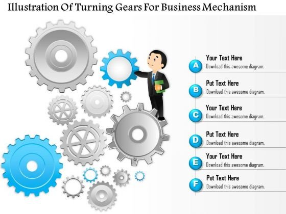 Business Diagram Illustration Of Turning Gears For Business Mechanism Presentation Slide Template