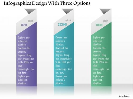 Business Diagram Infographics Design With Three Options Presentation Template