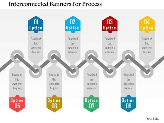 Business Diagram Interconnected Banners For Process Presentation Template