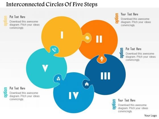 Business Diagram Interconnected Circles Of Five Steps Presentation Template