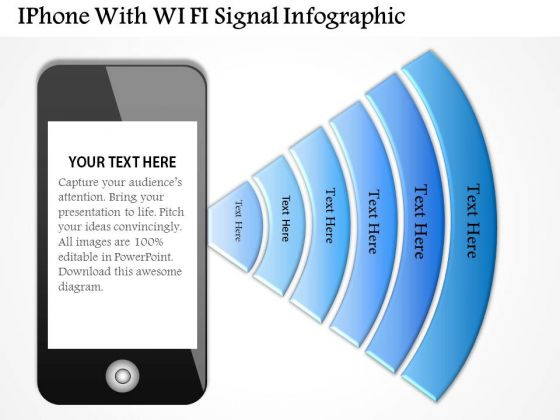 Business Diagram Iphone With Wi Fi Signal Infographic Presentation Template