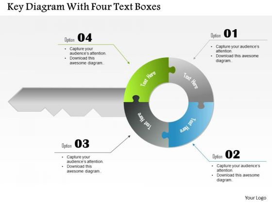 Business Diagram Key Diagram With Four Text Boxes Presentation Template