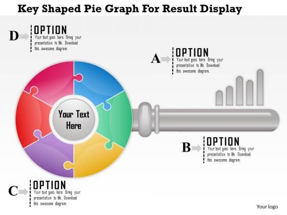 Business Diagram Key Shaped Pie Graph For Result Display Presentation Template