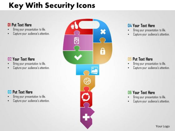 Business Diagram Key With Security Icons Presentation Template