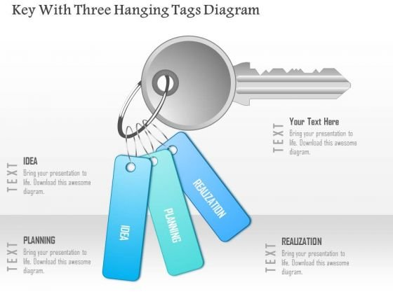 Business Diagram Key With Three Hanging Tags Diagram Presentation Template