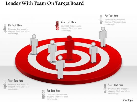 Business Diagram Leader With Team On Target Board Presentation Template