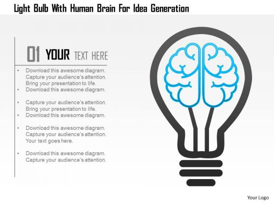 Business Diagram Light Bulb With Human Brain For Idea Generation Presentation Template