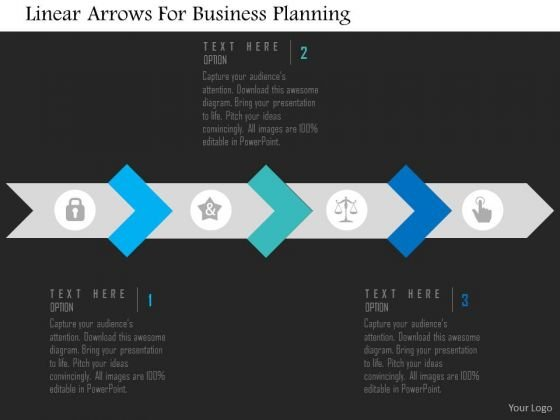 Business Diagram Linear Arrows For Business Planning Presentation Template