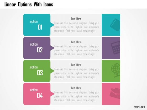 Business Diagram Linear Options With Icons Presentation Template