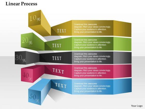 Business Diagram Linear Process Colorful Percentage Presentation Template