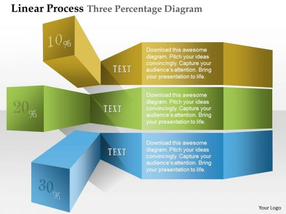 Business Diagram Linear Process Three Percentage Diagram Presentation Template