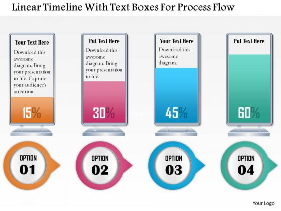 Business Diagram Linear Timeline With Text Boxes For Process Flow Presentation Template