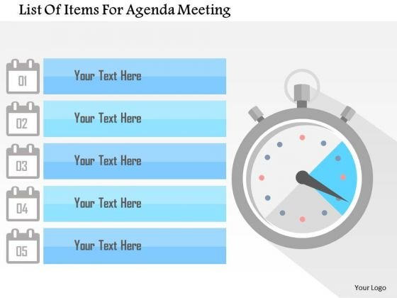 Business Diagram List Of Items For Agenda Meeting Presentation Template