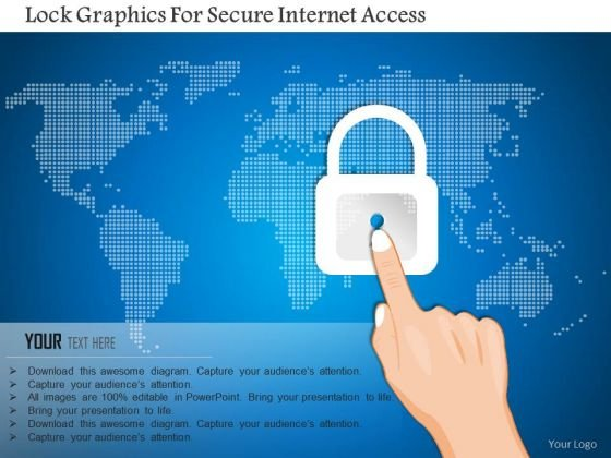 Business Diagram Lock Graphics For Secure Internet Access Presentation Template