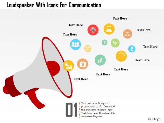 Business Diagram Loudspeaker With Icons For Communication Presentation Template