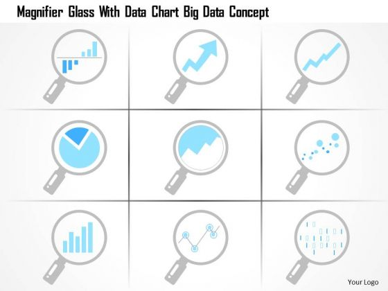 Business Diagram Magnifier Glass With Data Chart Big Data Concept Ppt Slide