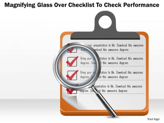 Business Diagram Magnifying Glass Over Checklist To Check Performance Presentation Template