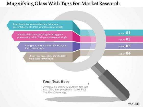 business diagram magnifying glass with tags for market research, Presentation templates
