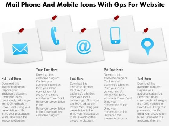 Business Diagram Mail Phone And Mobile Icons With Gps For Website Presentation Template