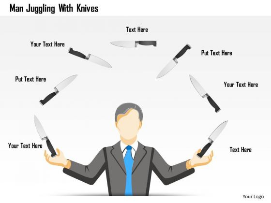 Business Diagram Man Juggling With Knives Presentation Template