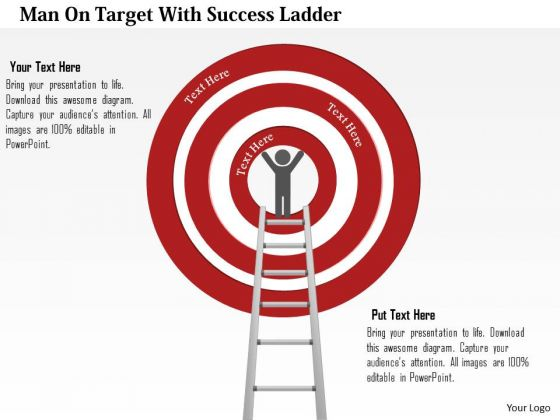Business Diagram Man On Target With Success Ladder Presentation Template