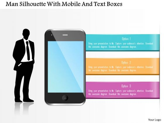 Business Diagram Man Silhouette With Mobile And Text Boxes Presentation Template
