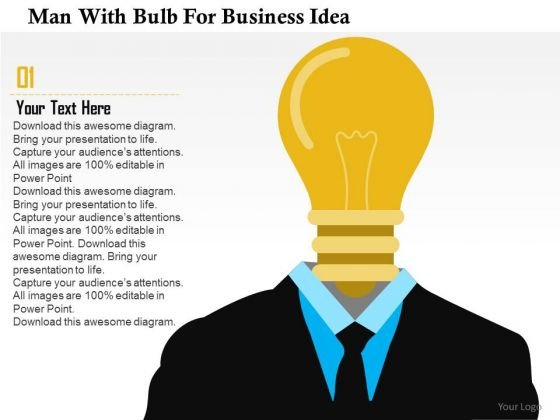 Business Diagram Man With Bulb For Business Idea Presentation Template