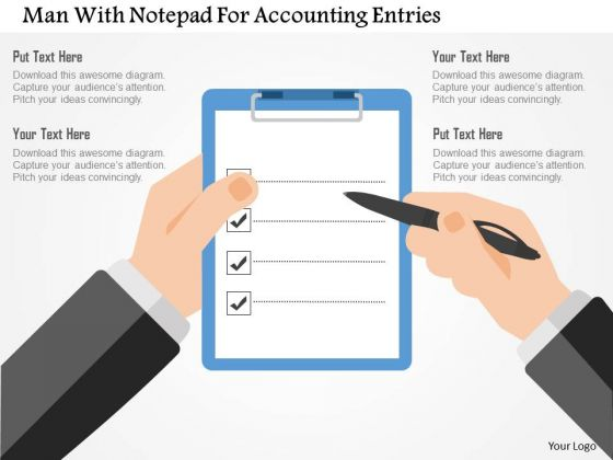 Business Diagram Man With Notepad For Accounting Entries Presentation Template