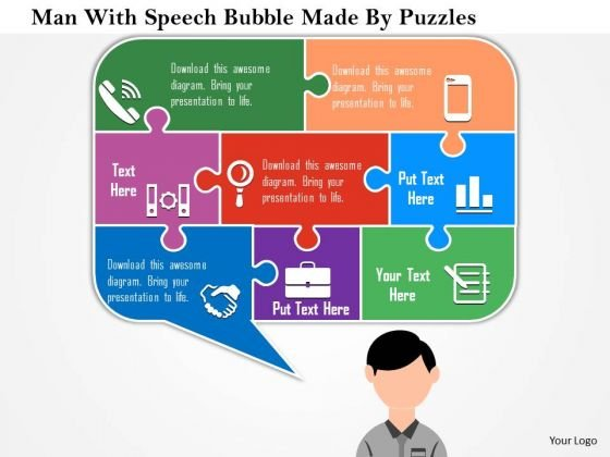 Business Diagram Man With Speech Bubble Made By Puzzles Presentation Template