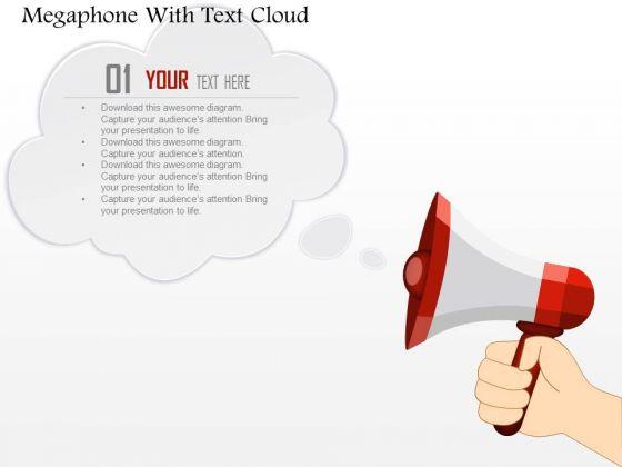 Business Diagram Megaphone With Text Cloud Presentation Template