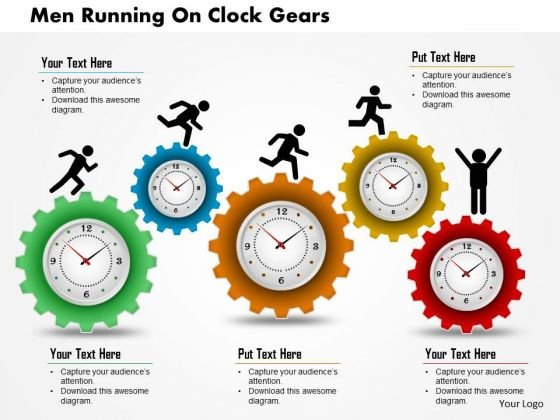 Business Diagram Men Running On Clock Gears Presentation Template