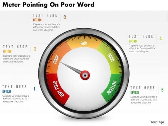 Business Diagram Meter Pointing On Poor Word Presentation Template