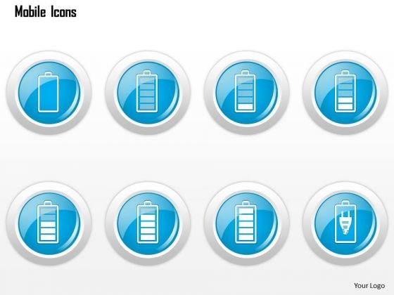 Business Diagram Mobile Icons Showing Battery Status Charging Ppt Slide