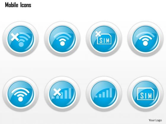 Business Diagram Mobile Icons Showing Phone Status No Signal No Sim Card Ppt Slide