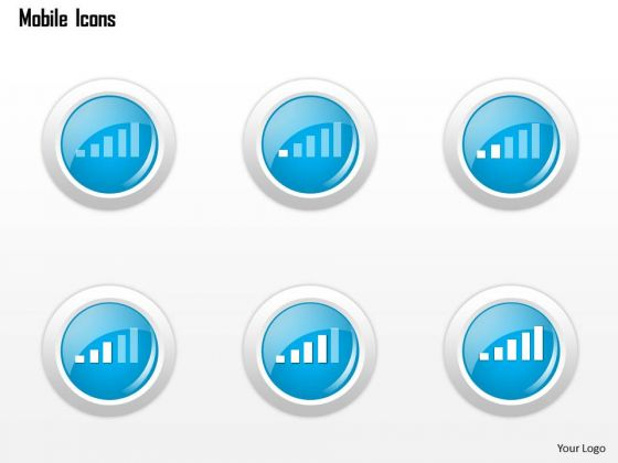 Business Diagram Mobile Icons Showing Wireless Signal Strength Ppt Slide