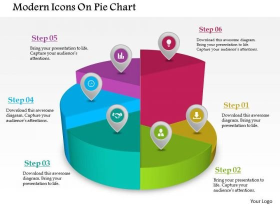 Business Diagram Modern Icons On Pie Chart Presentation Template