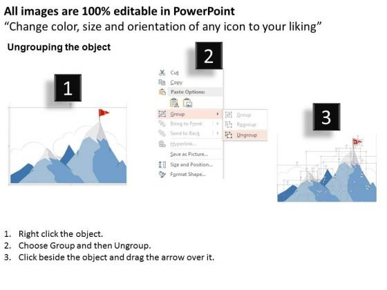 business_diagram_mountains_with_four_steps_red_flag_presentation_template_2