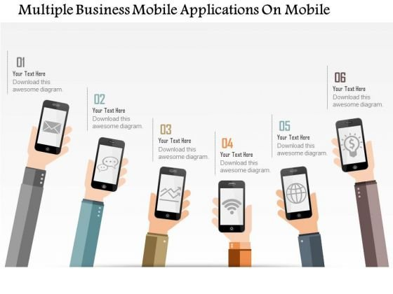 Business Diagram Multiple Business Mobile Applications On Mobile Presentation Template