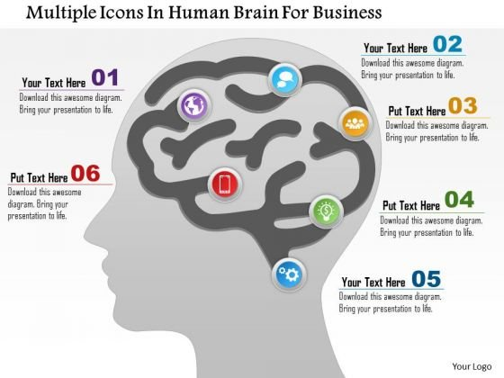 Business Diagram Multiple Icons In Human Brain For Business Presentation Template
