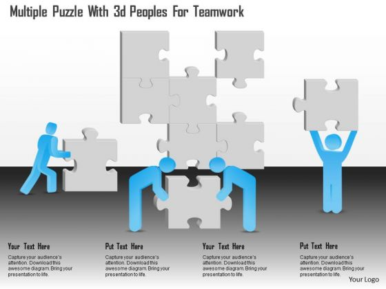 Business Diagram Multiple Puzzle With 3d Peoples For Teamwork Presentation Template