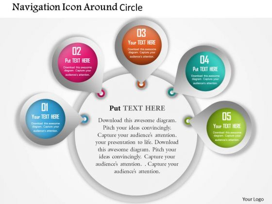 Business Diagram Navigation Icon Around Circle Presentation Template