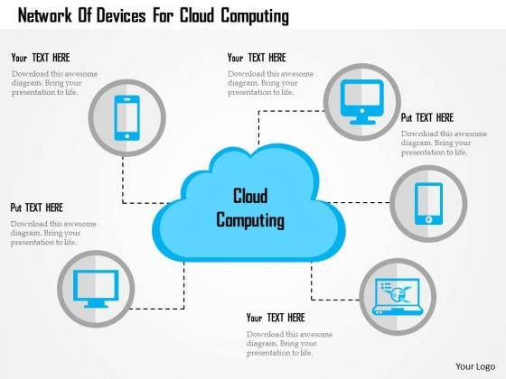 Business Diagram Network Of Devices For Cloud Computing