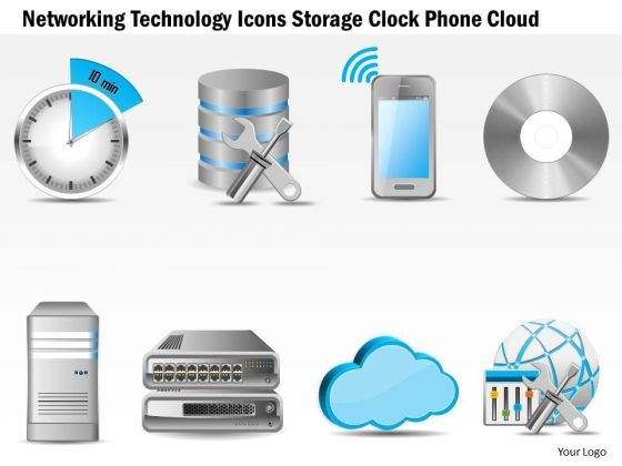 Business Diagram Networking Technology Icons Storage Clock Phone Cloud Ppt Slide