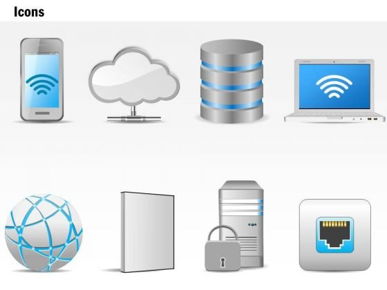 business diagram networking technology icons storage globe wireless laptop  ppt slide - powerpoint templates  slide geeks