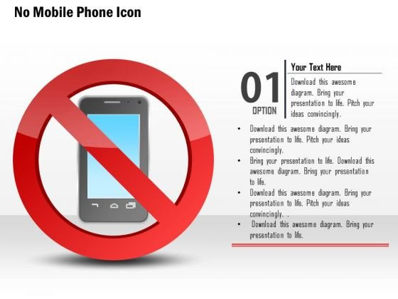 Business Diagram No Mobile Phone Icons With Red Warning Sign Presentation Template