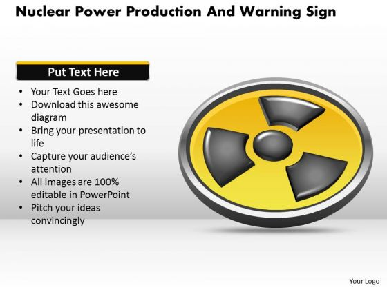 Business Diagram Nuclear Power Production And Warning Sign Presentation Template