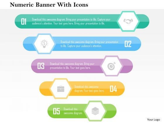 Business Diagram Numeric Banner With Icons Presentation Template