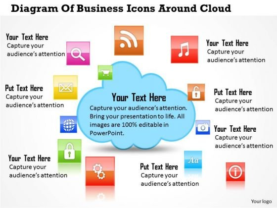 Business Diagram Of Business Icons Around Cloud Presentation Template